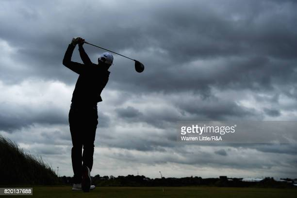 Charl Schwartzel of South Africa hits his tee shot on the 13th hole during the second round of the 146th Open Championship at Royal Birkdale on July...