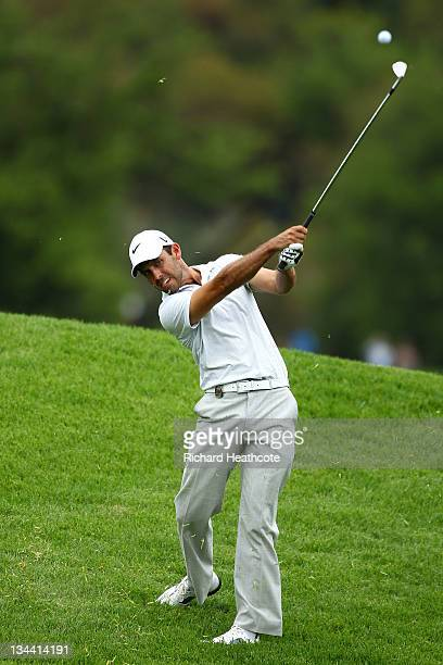 Charl Schwartzel of South Africa in action during the first round of the Nedbank Golf Challenge at the Gary Player Country Club on December 1, 2011...