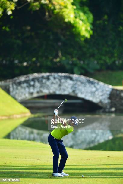 Charl Schwartzel of South Africa plays a shot during Day Two of the Maybank Championship Malaysia at Saujana Golf Club on February 10 2017 in Kuala...