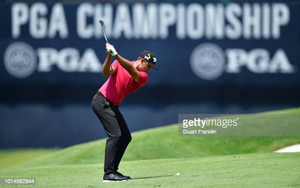 Charl Schwartzel of South Africa plays a shot on the 18th hole during the second round of the 2018 PGA Championship at Bellerive Country Club on...