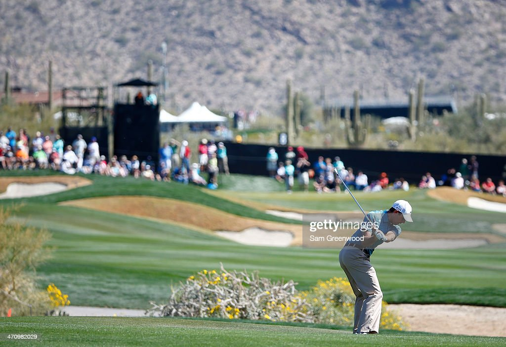 Charl Schwartzel of South Africa plays a shot on the eighth hole during the second round of the World Golf Championships - Accenture Match Play Championship at The Golf Club at Dove Mountain on February 20, 2014 in Marana, Arizona.