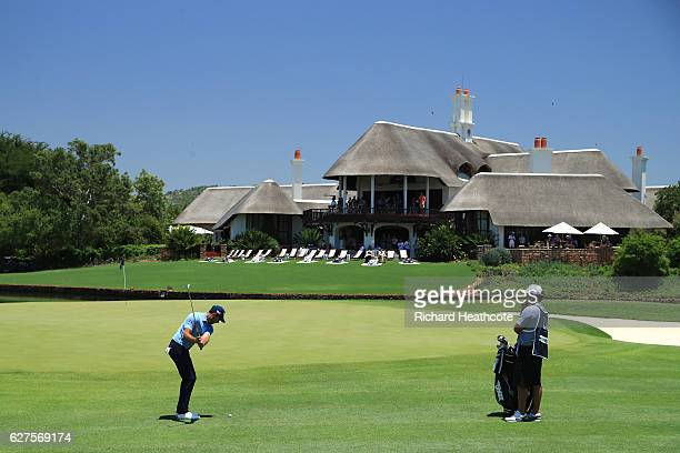 Charl Schwartzel of South Africa plays his 3rd shot on the 9th during the final round of The Alfred Dunhill Championship at Leopard Creek Country...