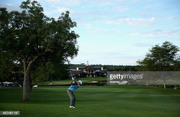 Charl Schwartzel of South Africa plays his second shot into the 18th green during the second round of the Alfred Dunhill Championship at Leopard...