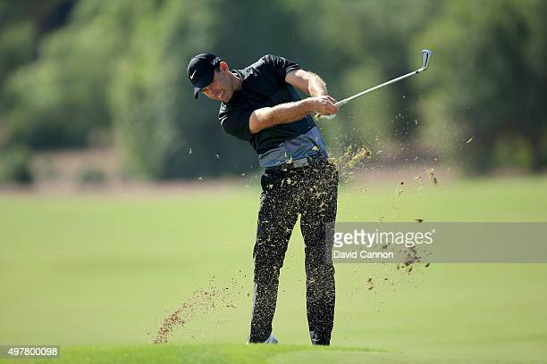 Charl Schwartzel of South Africa plays his second shot on the par 4 third hole during the first round of the 2015 DP World Tour Championship on the...