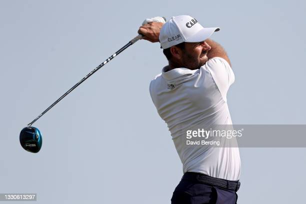 Charl Schwartzel of South Africa plays his shot from the 18th tee during the final round of the 3M Open at TPC Twin Cities on July 25, 2021 in...