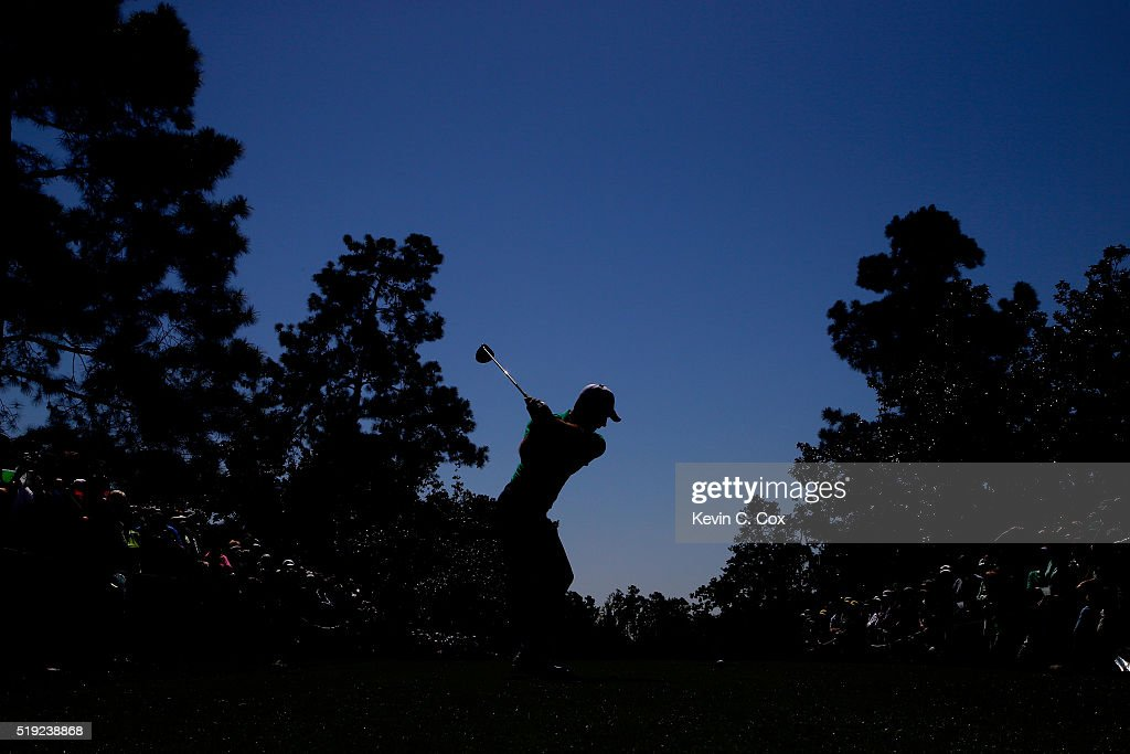 Charl Schwartzel of South Africa plays his shot from the ninth tee during a practice round prior to the start of the 2016 Masters Tournament at Augusta National Golf Club on April 5, 2016 in Augusta, Georgia.
