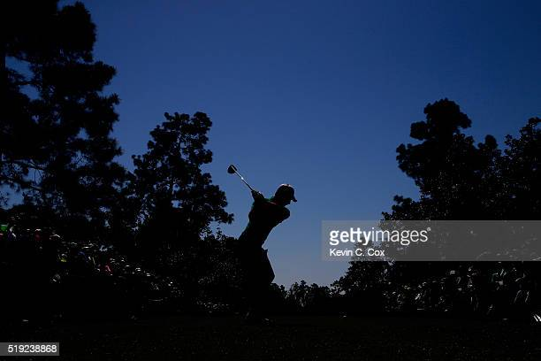 Charl Schwartzel of South Africa plays his shot from the ninth tee during a practice round prior to the start of the 2016 Masters Tournament at...