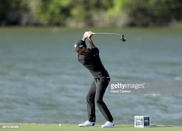 Charl Schwartzel of South Africa plays his tee shot on the par 4 14th hole in his match against Joost Luiten during the second round of the 2017 Dell...