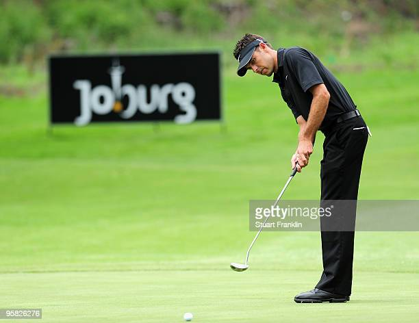 Charl Schwartzel of South Africa putting on the sixth hole during the final round of the Joburg Open at Royal Johannesburg and Kensington Golf Club...
