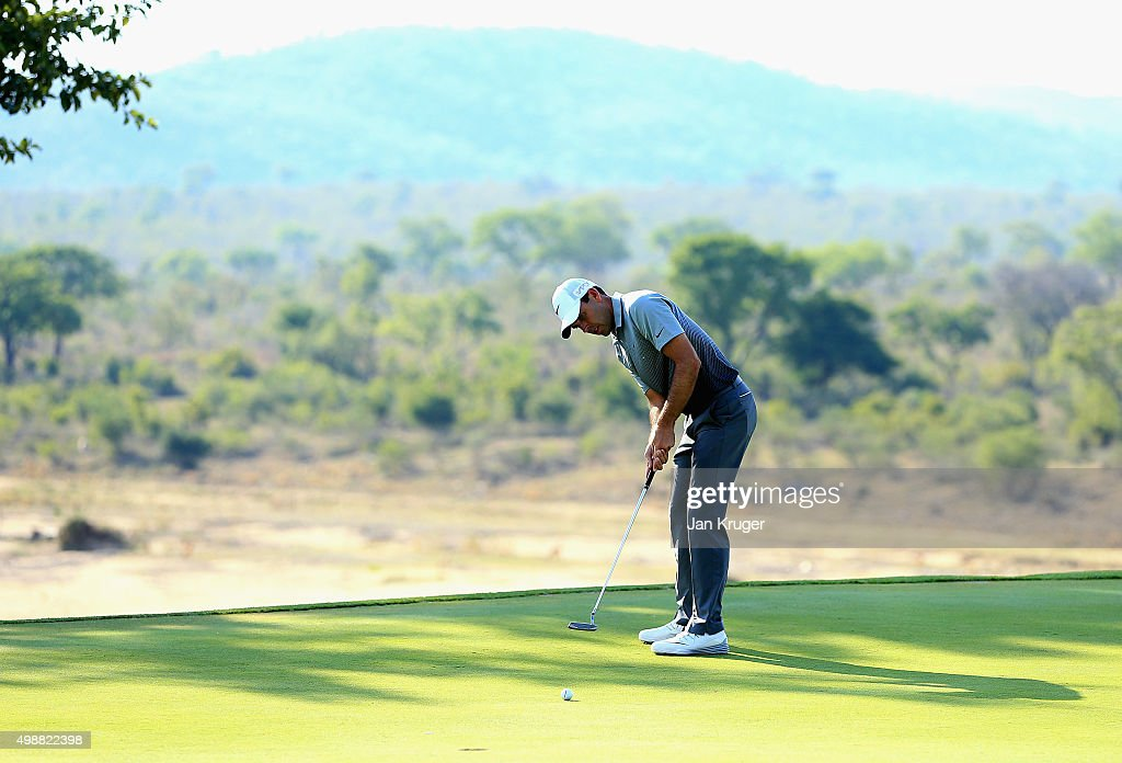 Charl Schwartzel of South Africa putts during day one of the Alfred Dunhill Championship at Leopard Creek Country Golf Club on November 26, 2015 in Malelane, South Africa.