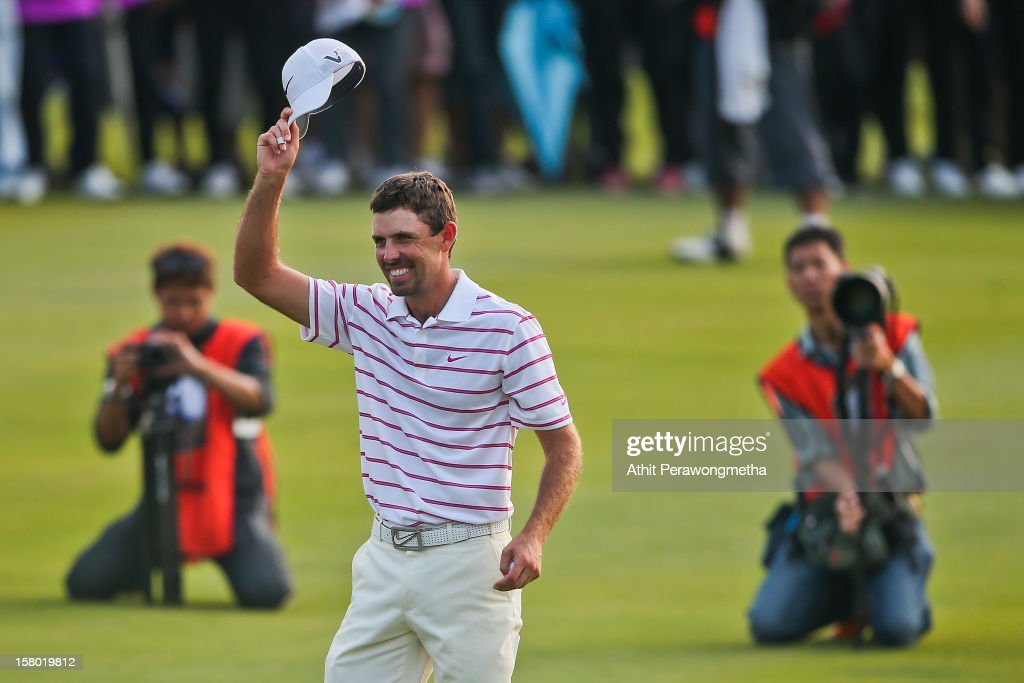 Charl Schwartzel of South Africa reacts after winning the Thailand Golf Championship 2012 at Amata Spring Country Club on December 9, 2012 in Bangkok, Thailand.