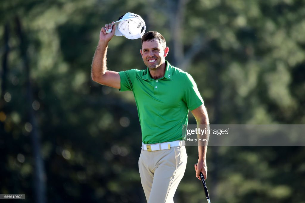 Charl Schwartzel of South Africa reacts to a putt for birdie on the 18th hole during the final round of the 2017 Masters Tournament at Augusta National Golf Club on April 9, 2017 in Augusta, Georgia.