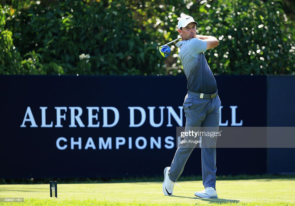 Charl Schwartzel of South Africa tees off on the 10th hole during day one of the Alfred Dunhill Championship at Leopard Creek Country Golf Club on November 26, 2015 in Malelane, South Africa.