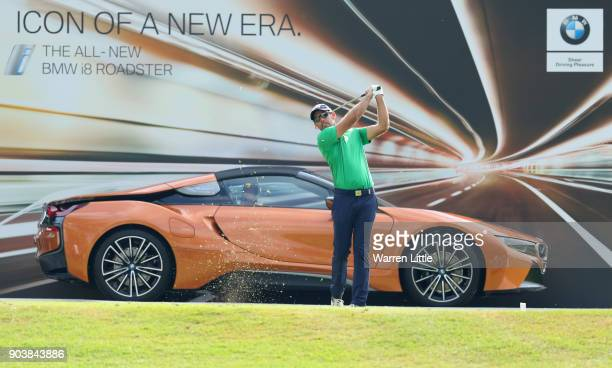 Charl Schwartzel of South Africa tees off on the 17th hole during Day One of The BMW South African Open Championship at Glendower Golf Club on...