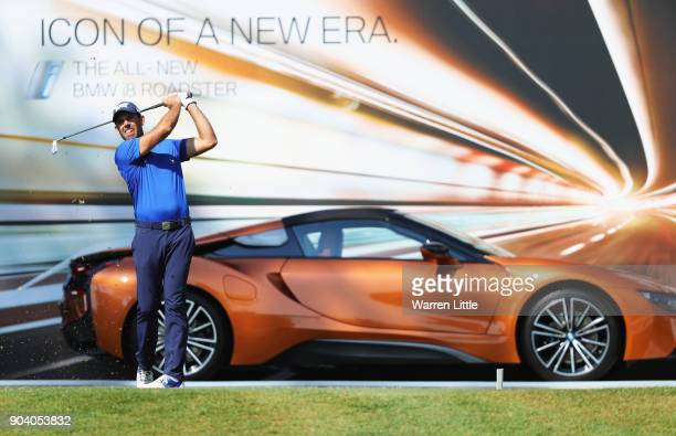 Charl Schwartzel of South Africa tees off on the 17th hole during day two of the BMW South African Open Championship at Glendower Golf Club on...