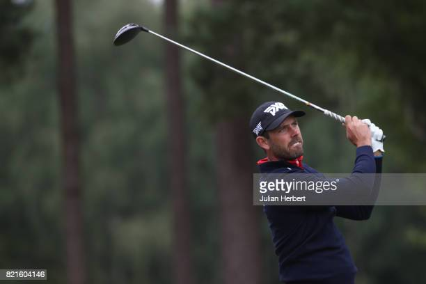 Charl Schwartzel plays a shot during The Berenberg Gary Player Invitational 2017 at Wentworth Club on July 24 2017 in London England
