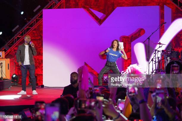 Charlamagne and Liza Koshy on stage at the MTV 1 The Vote 'Election Afterparty' at Miami Dade College on November 06 2018 in Miami Florida
