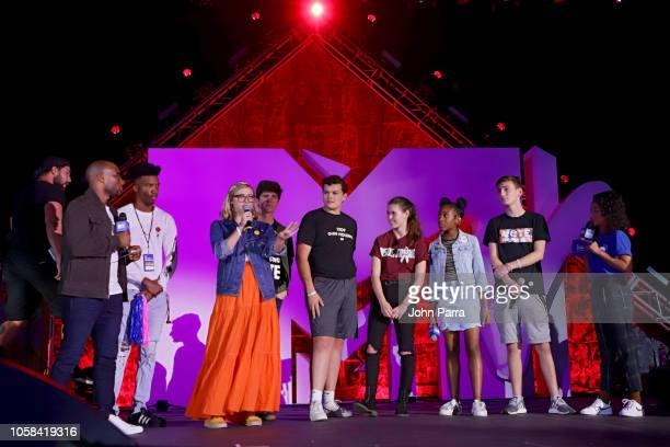 Charlamagne March of Our Lives Founders and Liza Koshy on stage at the MTV 1 The Vote 'Election Afterparty' on November 6 2018 in Miami Florida