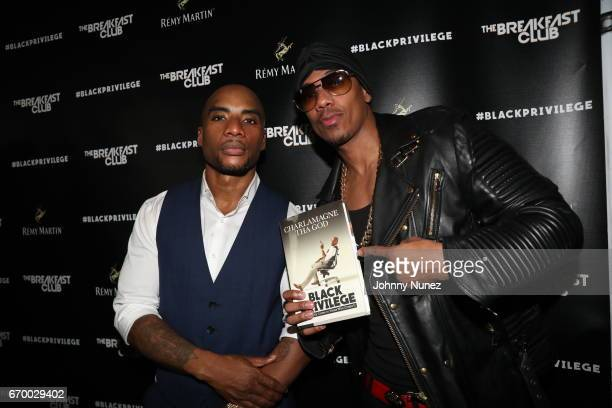 Charlamagne Tha God and Nick Cannon attend Remy Martin and Charlamagne Tha God Celebrate Black privilege Book Launch at Kola House on April 18 2017...