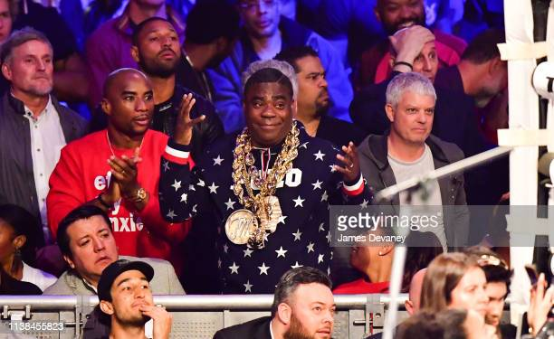 Charlamagne tha God and Tracy Morgan attend WBO welterweight title fight between Terence Crawford and Amir Khan at Madison Square Garden on April 20...