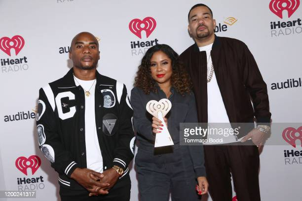 Charlamagne tha God Angela Yee and DJ Envy winners of the Best Pop Culture Podcast award for 'The Breakfast Club' attend the 2020 iHeartRadio Podcast...
