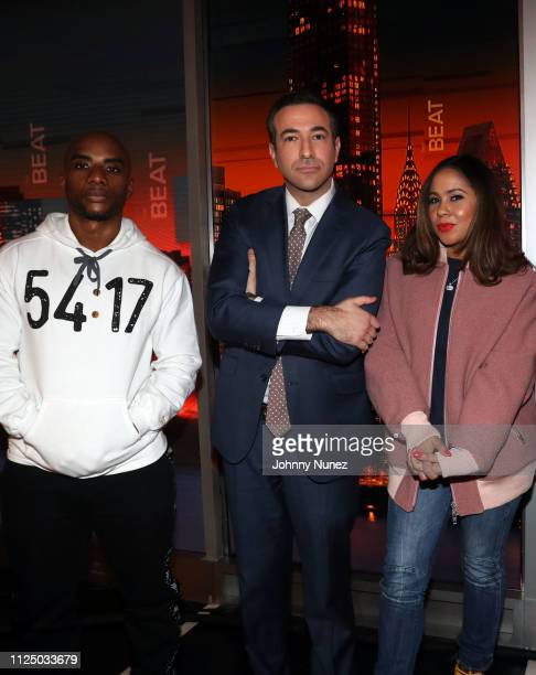 Charlamagne tha God Ari Melber and Angela Yee attend Ari Melber visits the Breakfast Club with DJ Envy Angela Yee Charlamagne tha God at MSNBC...