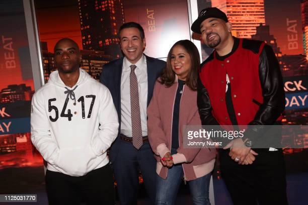 Charlamagne tha God Ari Melber Angela Yee and DJ Envy attend Ari Melber visits the Breakfast Club with DJ Envy Angela Yee Charlamagne tha God at...