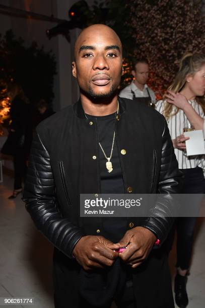 Charlamagne Tha God attends American Express x Justin Timberlake 'Man Of The Woods' listening session at Skylight Clarkson Sq on January 17 2018 in...