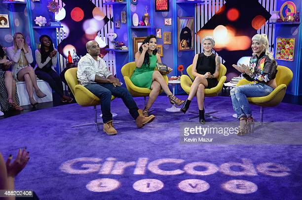 Charlamagne Tha God hosts Nessa and Carly Aquilino and singer Rita Ora attend a taping of MTV's new talk show Girl Code Live Girl Code Live airs...