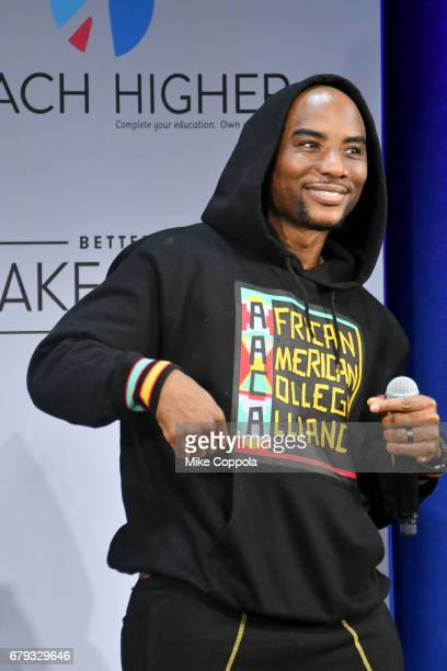 Charlamagne tha God speaks onstage during MTV's 2017 College Signing Day With Michelle Obama at The Public Theater on May 5 2017 in New York City