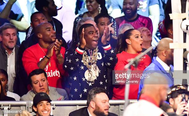 Charlamagne tha God Tracy Morgan and Megan Wollover attend WBO welterweight title fight between Terence Crawford and Amir Khan at Madison Square...