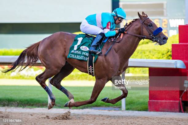 Charlatan with Jockey Martin Garcia wins the The Arkansas Derby during the Covid19 Pandemic on Derby Day at Oaklawn Racing Casino Resort on May 2...