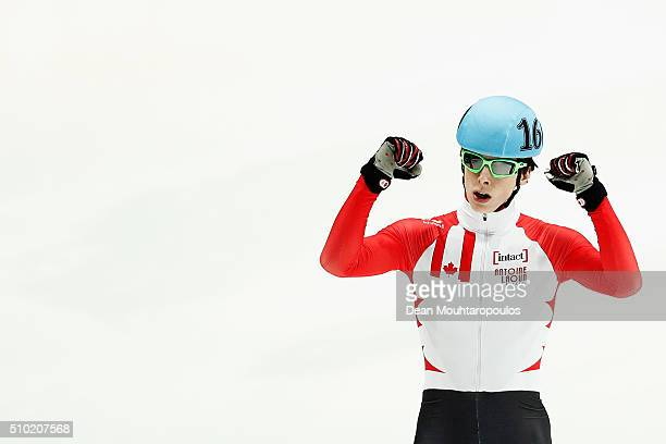 Charle Cournoyer of Canada celebrates winning the 1000m Mens Semi Final during ISU Short Track Speed Skating World Cup held at The Sportboulevard on...