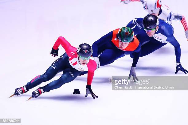 Charle Cournoyer of Canada competes in the Men«s 1000m quarter finals race during day two of ISU World Short Track Championships at Rotterdam Ahoy...