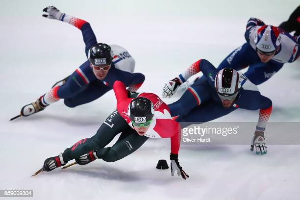 Charle Cournoyer of Canada competes in the Mens 1000m quarter finals race during the Audi ISU World Cup Short Track Speed Skating at Optisport...