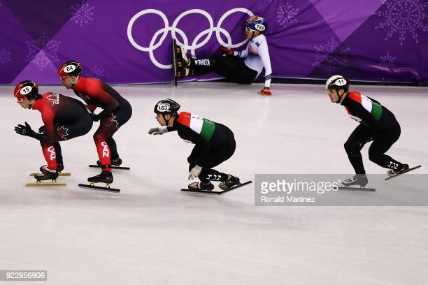 Charle Cournoyer of Canada leads during the Men's 5000m Relay Final A on day 13 of the PyeongChang 2018 Winter Olympic Games at Gangneung Ice Arena...