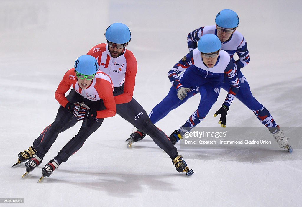 Charle Cournoyer of Canada leads the Men 5000 M Relay Final during day two of the ISU World Cup Short Track Speed Skating at EnergieVerbund Arena on February 7, 2016 in Dresden, Germany.