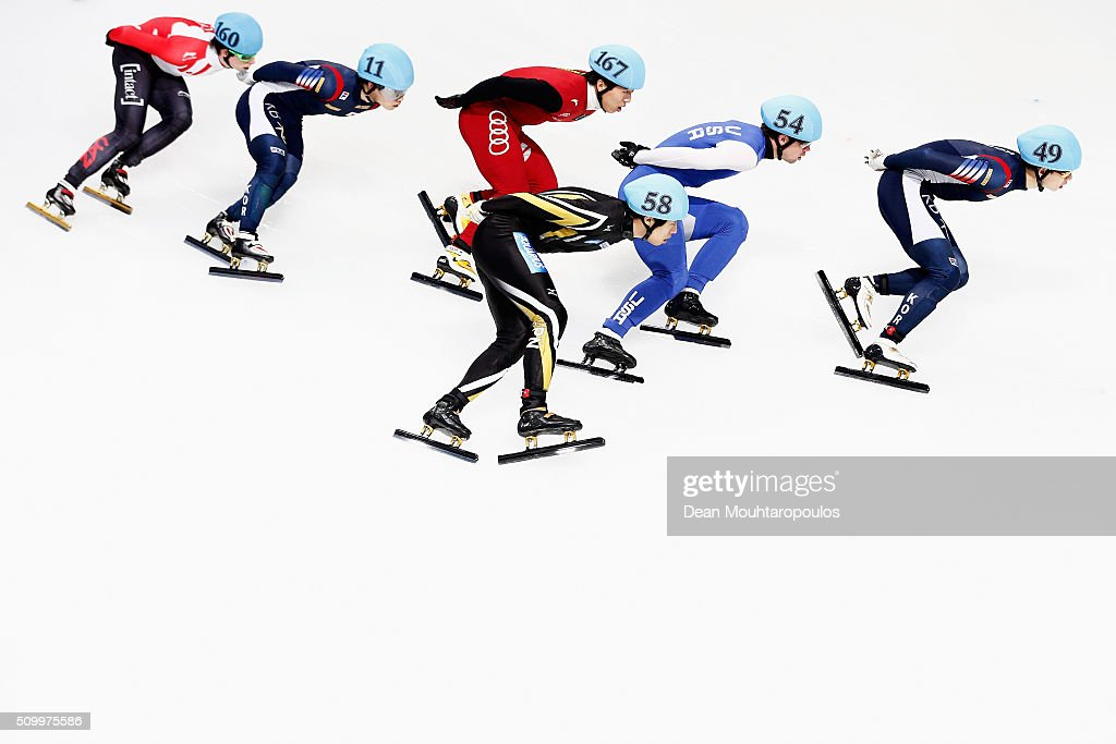 Charle Cournoyer of Canada, Ra Seo Yi of South Korea, Fu Xu of China, Ryosuke Sakazume of Japan, Cole Krueger of the United States of America and Jung-Su Lee of South Korea compete in the mens 1500m semi finals during ISU Short Track Speed Skating World Cup held at The Sportboulevard on February 13, 2016 in Dordrecht, Netherlands.