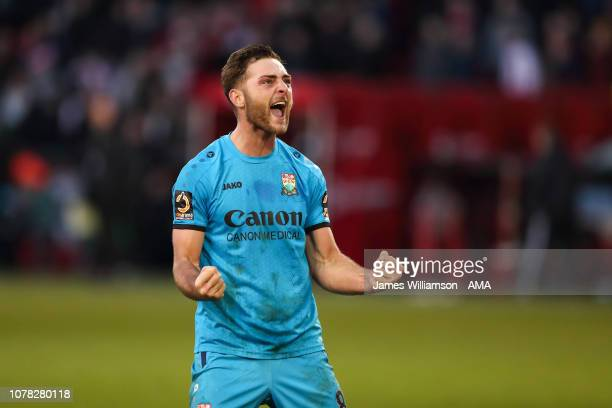 Charlee Adams of Barnet celebrates at full time of the FA Cup Third Round match between Sheffield United and Barnet at Bramall Lane on January 6 2019...