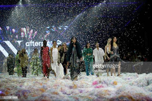 Charlee Fraser and Jessica Gomes walk the runway during the Afterpay's Future of Fashion show during Afterpay Australian Fashion Week 2021 Resort '22...