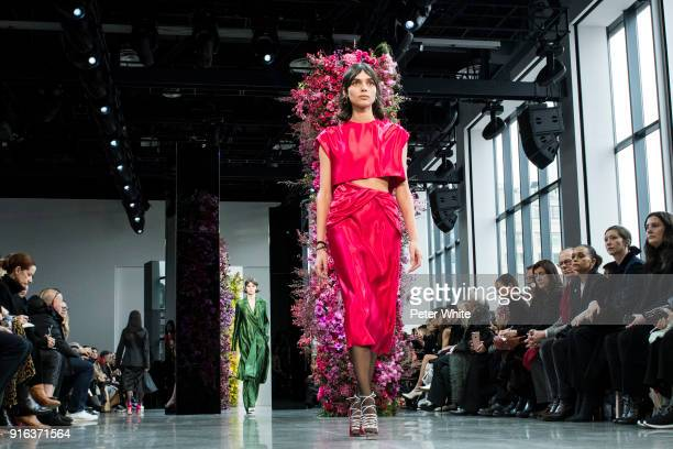 Charlee Fraser walks the runway at Jason Wu Fashion Show during New York Fashion Week The Shows at Gallery I at Spring Studios on February 9 2018 in...