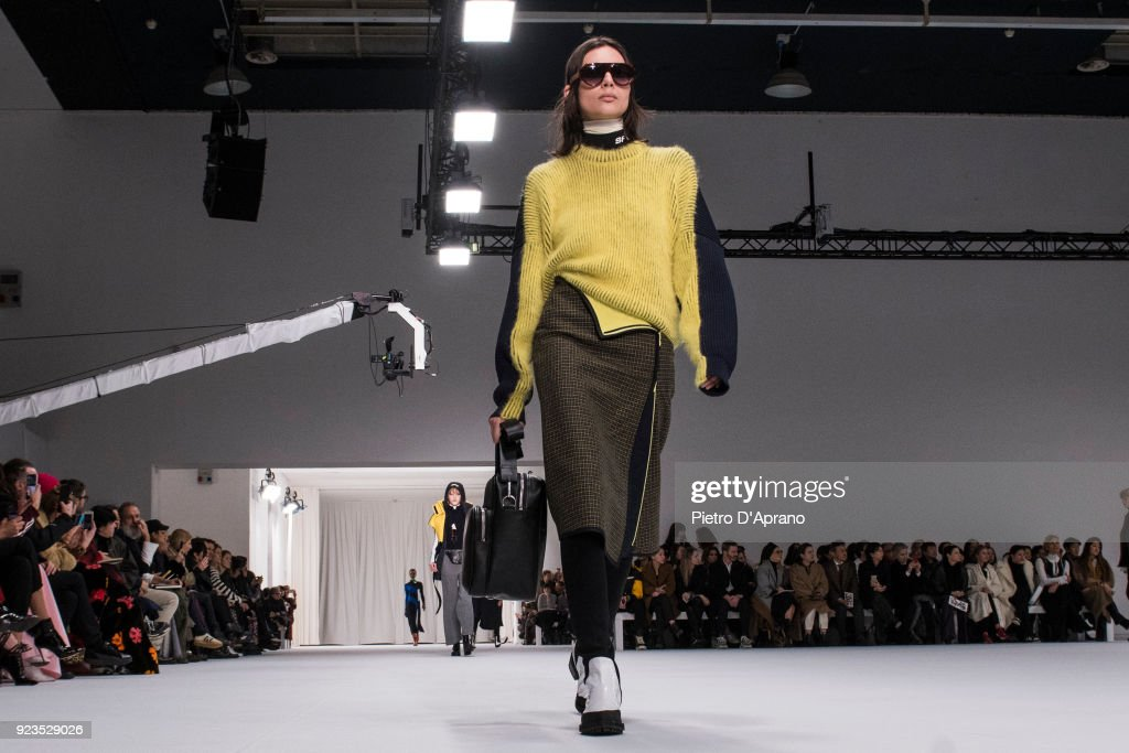 Charlee Fraser walks the runway at the Sportmax show during Milan Fashion Week Fall/Winter 2018/19 on February 23, 2018 in Milan, Italy.