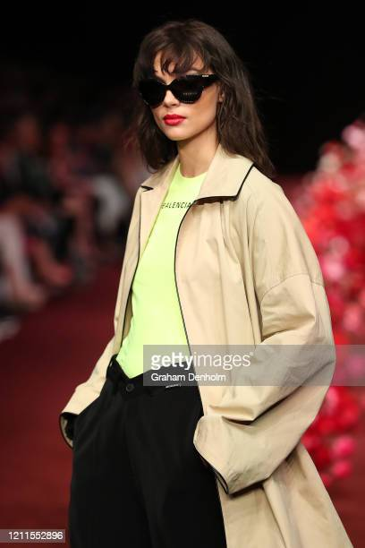 Charlee Fraser walks the runway in a design by Balenciaga during the Gala Runway 1 show at Melbourne Fashion Festival on March 10, 2020 in Melbourne,...