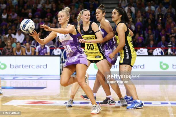 Charlee Hodges of the Stars receives a pass during the ANZ Premiership Netball Final between the Pulse and the Stars at Te Rauparaha Arena on June 03...
