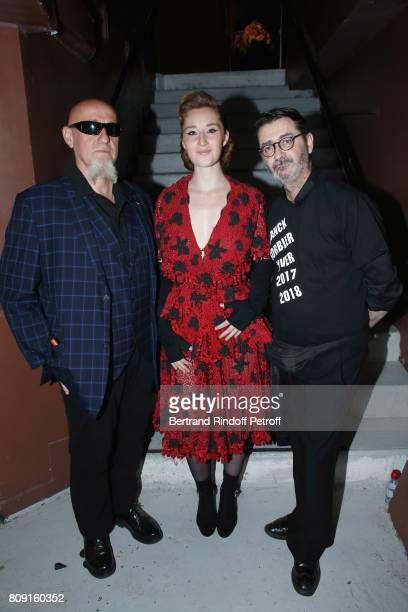 Charlelie Couture his daughter Yamee Couture and stylist Franck Sorbier attend the Franck Sorbier Haute Couture Fall/Winter 20172018 show as part of...