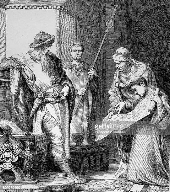 Charlemagne 2 April 742/747/748 28 January 814 also known as Charles the Great locking to the Construction Plan of the palacechurch of Aachen Germany...