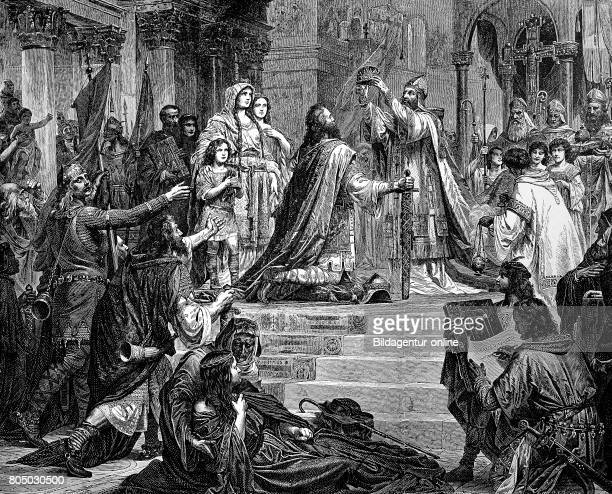 Charlemagne 2 April 742/747/748 28 January 814 also known as Charles the Great was King of the Franks Imperial Coronation at St Peter historical...