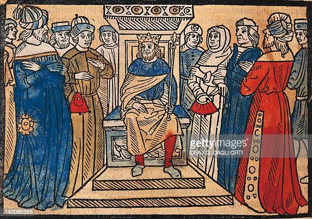 Charlemagne and his court engraving from the Great Chronicle of French Kings by Robert Gaguin manuscript Paris France 1514