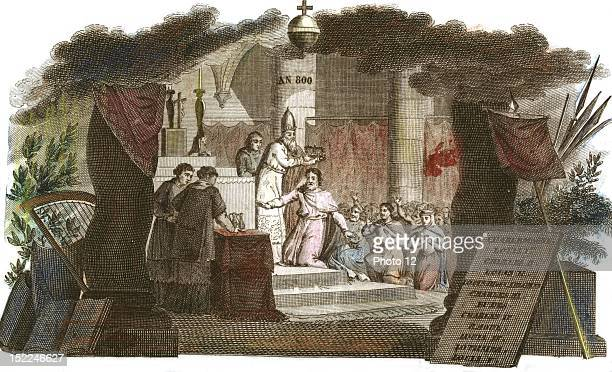 Charlemagne being crowned emperor in 800 in 'Histoire de France en estampes' published in the 19th century Handcolored engraving France Private...