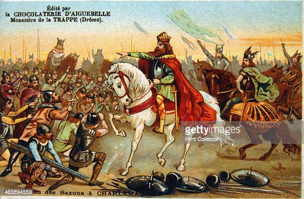 Charlemagne King of the Franks accepting the submission of the Saxons 777 Charlemagne became King of the Franks in 768 jointly with his brother...